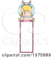 Clipart Of A Blond White Easter Girl Wearing Bunny Ears Bookmark Royalty Free Vector Illustration