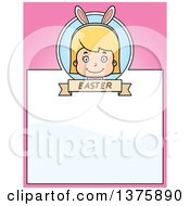 Clipart Of A Blond White Easter Girl Wearing Bunny Ears Page Border Royalty Free Vector Illustration
