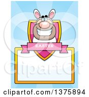 Clipart Of A White Easter Bunny Man In A Costume Page Border Royalty Free Vector Illustration by Cory Thoman