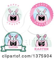 Clipart Of Badges Of A Chubby Pink Easter Bunny Royalty Free Vector Illustration