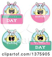 Poster, Art Print Of Badges Of A Happy Easter Chick With Bunny Ears