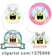 Clipart Of Badges Of A Happy Easter Chick With Bunny Ears Royalty Free Vector Illustration