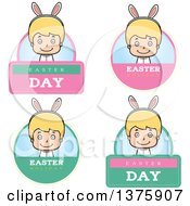 Clipart Of Badges Of A Blond White Easter Boy Wearing Bunny Ears Royalty Free Vector Illustration