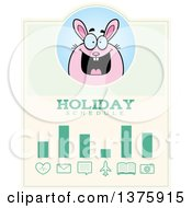 Clipart Of A Chubby Pink Easter Bunny Schedule Design Royalty Free Vector Illustration