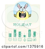 Poster, Art Print Of Happy Easter Chick With Bunny Ears Schedule Design