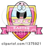 Clipart Of A Happy Easter Egg Mascot Shield Royalty Free Vector Illustration by Cory Thoman