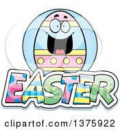 Clipart Of A Happy Easter Egg Mascot With Text Royalty Free Vector Illustration by Cory Thoman
