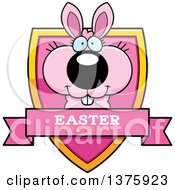 Clipart Of A Pink Easter Bunny Shield Royalty Free Vector Illustration