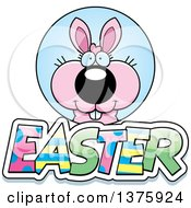 Clipart Of A Pink Easter Bunny With Text Royalty Free Vector Illustration by Cory Thoman