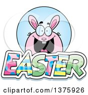 Clipart Of A Chubby Pink Easter Bunny With Text Royalty Free Vector Illustration by Cory Thoman