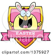 Clipart Of A Happy Easter Chick With Bunny Ears Shield Royalty Free Vector Illustration