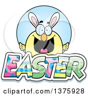 Clipart Of A Happy Easter Chick With Bunny Ears With Text Royalty Free Vector Illustration