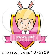 Clipart Of A Blond White Easter Boy Wearing Bunny Ears Shield Royalty Free Vector Illustration