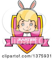 Clipart Of A Blond White Easter Girl Wearing Bunny Ears Shield Royalty Free Vector Illustration by Cory Thoman