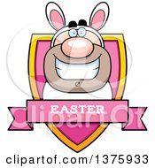 Clipart Of A White Easter Bunny Man In A Costume Shield Royalty Free Vector Illustration by Cory Thoman