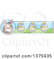 Clipart Of A White Easter Bunny Man In A Costume Banner Royalty Free Vector Illustration by Cory Thoman