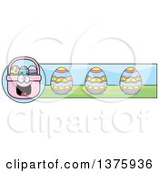Clipart Of A Happy Easter Basket Mascot Banner Royalty Free Vector Illustration