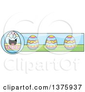 Clipart Of A Happy Easter Egg Mascot Banner Royalty Free Vector Illustration by Cory Thoman