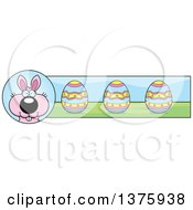 Clipart Of A Pink Easter Bunny Banner Royalty Free Vector Illustration