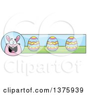 Clipart Of A Chubby Pink Easter Bunny Banner Royalty Free Vector Illustration by Cory Thoman