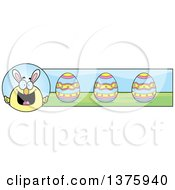 Clipart Of A Happy Easter Chick With Bunny Ears Banner Royalty Free Vector Illustration