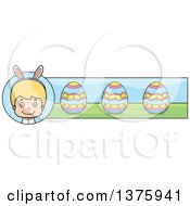 Clipart Of A Blond White Easter Boy Wearing Bunny Ears Banner Royalty Free Vector Illustration by Cory Thoman