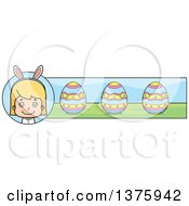 Clipart Of A Blond White Easter Girl Wearing Bunny Ears Banner Royalty Free Vector Illustration by Cory Thoman