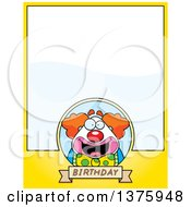 Clipart Of A Happy Pudgy Birthday Party Clown Page Border Royalty Free Vector Illustration by Cory Thoman