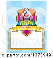 Clipart Of A Happy Pudgy Birthday Party Clown Page Border Royalty Free Vector Illustration
