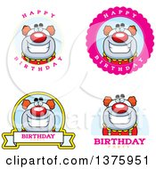 Clipart Of Badges Of A Happy Pudgy Birthday Party Clown Royalty Free Vector Illustration