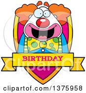 Clipart Of A Happy Pudgy Birthday Party Clown Shield Royalty Free Vector Illustration