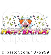 Clipart Of A Happy Pudgy Birthday Party Clown With Text Royalty Free Vector Illustration by Cory Thoman