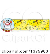 Clipart Of A Happy Pudgy Birthday Party Clown Banner Royalty Free Vector Illustration