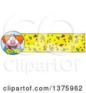 Clipart Of A Happy Pudgy Birthday Party Clown Banner Royalty Free Vector Illustration by Cory Thoman