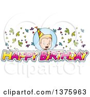 Clipart Of A Boy With Happy Birthday Text Royalty Free Vector Illustration