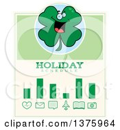 Clipart Of A St Patricks Day Four Leaf Clover Character Schedule Design Royalty Free Vector Illustration