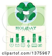 Clipart Of A Happy Four Leaf Clover Character Schedule Design Royalty Free Vector Illustration