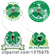 Clipart Of Badges Of A St Patricks Day Four Leaf Clover Character Royalty Free Vector Illustration