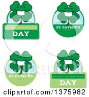 Clipart Of Badges Of A Happy Four Leaf Clover Character Royalty Free Vector Illustration