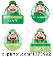 Clipart Of Badges Of A Happy St Patricks Day Leprechaun Royalty Free Vector Illustration