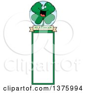 Clipart Of A St Patricks Day Four Leaf Clover Character Bookmark Royalty Free Vector Illustration