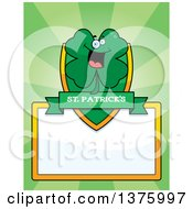 Clipart Of A St Patricks Day Four Leaf Clover Character Page Border Royalty Free Vector Illustration