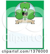 Clipart Of A Happy Shamrock Mascot Page Border Royalty Free Vector Illustration