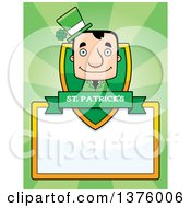 Clipart Of A Block Headed White Irish St Patricks Day Man Page Border Royalty Free Vector Illustration by Cory Thoman