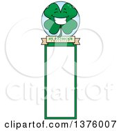 Clipart Of A Happy Four Leaf Clover Character Bookmark Royalty Free Vector Illustration
