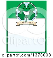 Clipart Of A Happy Four Leaf Clover Character Page Border Royalty Free Vector Illustration by Cory Thoman
