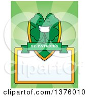 Clipart Of A Happy Four Leaf Clover Character Page Border Royalty Free Vector Illustration