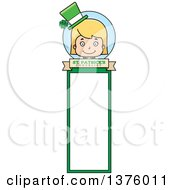 Clipart Of A Blond White St Patricks Day Girl Bookmark Royalty Free Vector Illustration