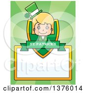 Clipart Of A Blond White St Patricks Day Girl Page Border Royalty Free Vector Illustration