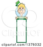 Clipart Of A Skinny Blond White Male Irish St Patricks Day Leprechaun Bookmark Royalty Free Vector Illustration by Cory Thoman
